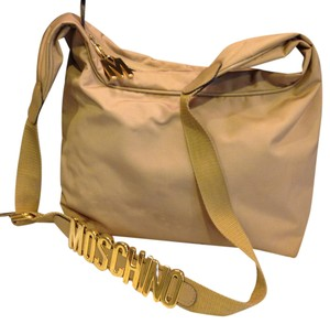 Moschino Vintage Microfiber Letters On Strap Roomy Hobo Bag