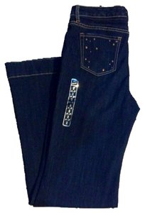 7 For All Mankind Studded Trouser/Wide Leg Jeans-Dark Rinse