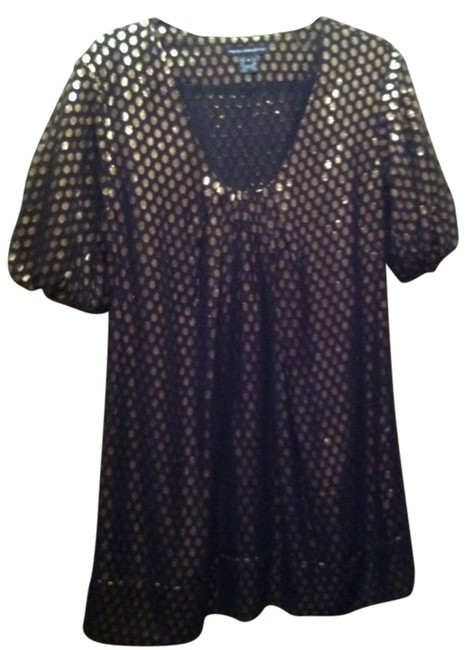 French Connection short dress Dark Blue & Gold on Tradesy