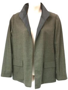 Ellen Tracy Linda Allard Reversible Wool Jacket DARK GREEN Blazer