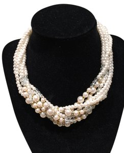Adjustable Fashion Pearl, Goldtone and Clear Crystal Multi-Strand Necklace/Choker
