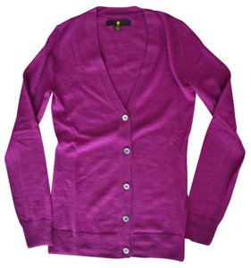 Moon Collection Sweater Button Up Magenta Pink Wool Cardigan