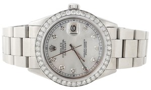 Rolex Diamond Datejust Watch Mens 36mm Oyster Band White Custom Mop Dial 2.20 Ct.