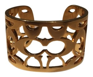 Coach Coach Goldtone Signature Cuff Bracelet (Includes Authentic Coach Bag)