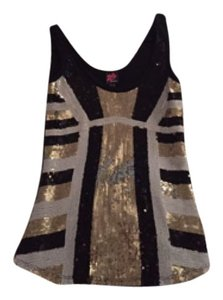 bebe Night Out Sparkle Top Black, silver, gold