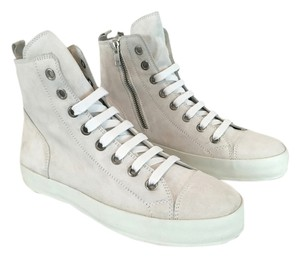 Ann Demeulemeester High Top Sneakers Suede White Athletic