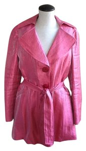 Nine West Womens Trench Trench Coat Wrap Trench Coat Top Pink