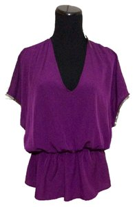 Collective Concepts Silver Beaded Top Purple