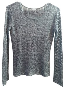 J. Jill Silver Grey Marled Pointelle Holiday Special Lightweight Longsleeve Christmas New Year Pointelle J Sweater