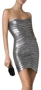 BCBGMAXAZRIA Silver Bodycon Evening Dress