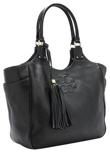 Tory Burch Tb Designer Fall Leather Real Tote in Black