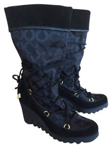 Coach Suede Winter Wedge black Boots