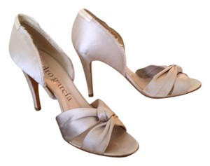 Pedro Garcia Frayed Edges Ivory Satin Pumps
