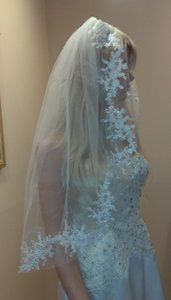Elbow Length Veil With Sequin Lace Appliques