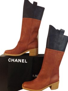 Chanel Brown/Navy Blue Boots