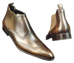 Dolce&Gabbana Men's Brown Washed Leather Wingtip Beatles Dress Ankle Boots 8.5 41.5