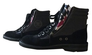 Chanel 15c Suede Lace Up Combat Military Worker Black Boots