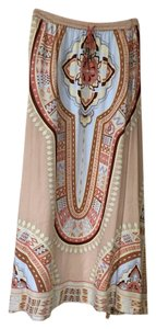 Soft Surroundings Maxi Skirt beige and multi colors