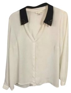 Spiked collar blouse from forever 21 plus Top Cream white