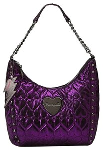 Betseyville by Betsey Johnson Quilted Metallic Print Silver Hobo Bag