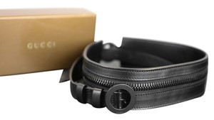 Gucci Gucci Black Leather Waist Belt w/ Zipper Detail