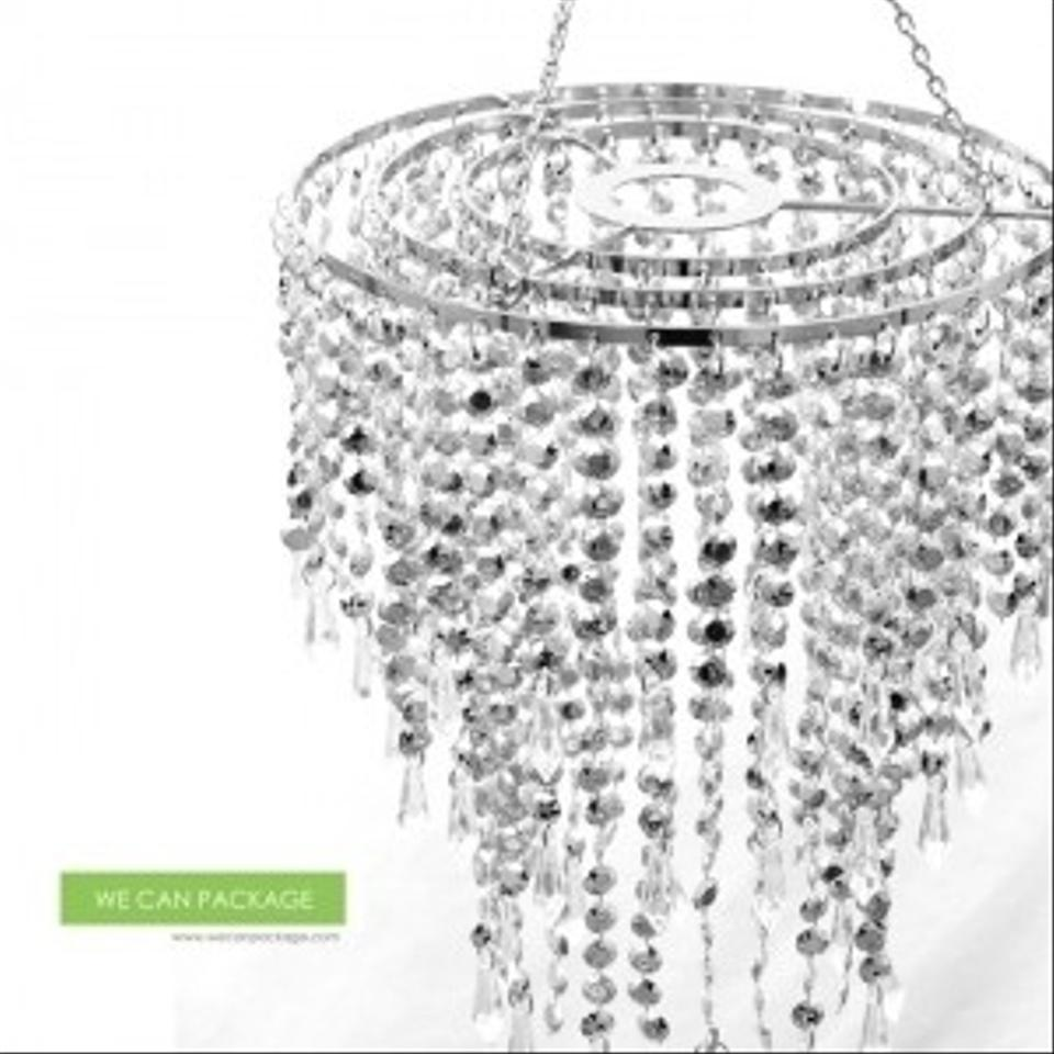 Silver Chandeliers Crystal Bling Diamond Cut For Event Party Decor ...