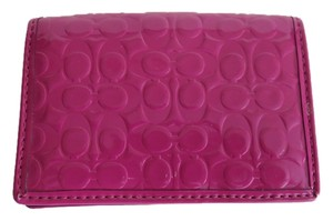 Coach Nwt Coach Embossed Pink Purple Patent Leather ID Credit Card Wallet