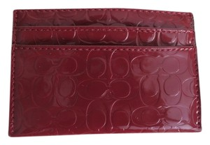 Coach Nwt Coach Embossed Burgundy Red Patent Leather Credit Card ID Wallet