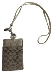 Coach New Coach Signature Khaki Jacquard Gold Leather Lanyard ID Credit Card