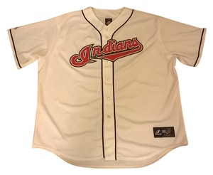 Majestic MLB Majestic CLEVELAND INDIANS Mens Home White Sewn Jersey