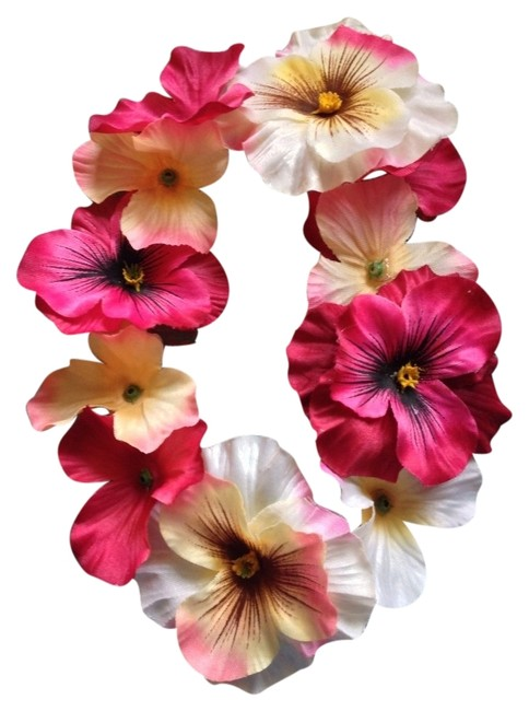 Item - Magenta Purple Red Cream Black Flowers Headband Crown On Soft Elastic Headband Fits Kids and Adults Hair Accessory