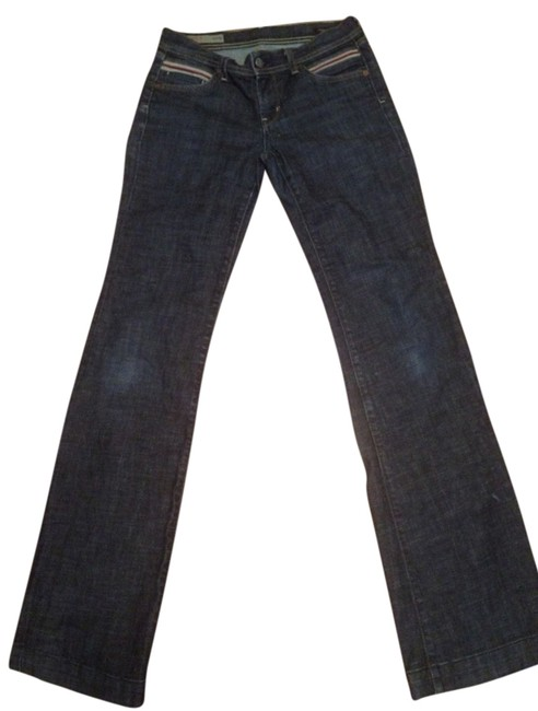 Citizens of Humanity Low Rise Wide Leg Vintage Red White And Blue Boot Cut Jeans-Dark Rinse