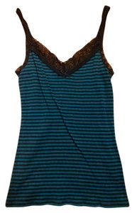 Express Lace Deep V Top Blue Striped