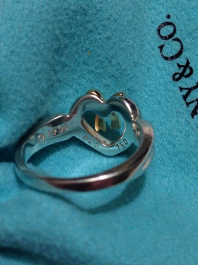 Tiffany & Co. Retired Silver Heart Ring With 18K Bow