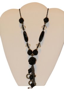 Black Rose Beaded Long Necklace