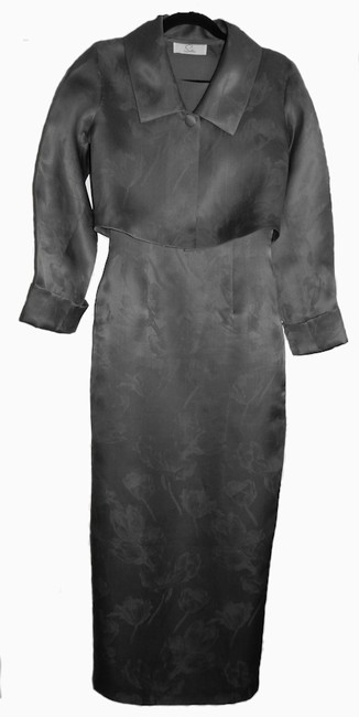 Item - Soft Slate Grey Silk Jacket And Modern Bridesmaid/Mob Dress Size 6 (S)