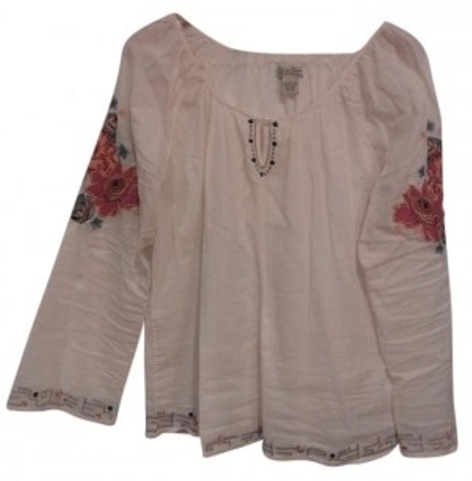 4355c886922266 Lucky Brand Cream-multi Flowers Embroidered Cotton Blouse Size 12 (L ...