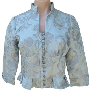 Elevenses Anthropologie Fitted Button Front Size 6 Silk Blend Brocade Floral Print Green Jacket