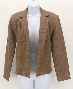 Calvin Klein Calvin Klein Joseph Magnin Brown Tan Herringbone No Button Blazer B190