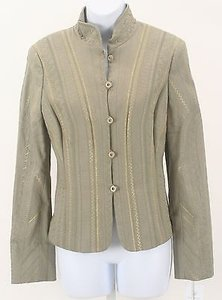 Worth Worth Oatmeal Moss Gold Metallic Embroidered Button Blazer B205