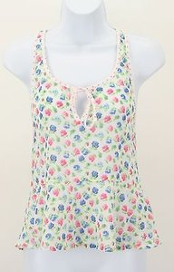 Abercrombie & Fitch White Pink Blue Green Peplum Racerback B219 Top
