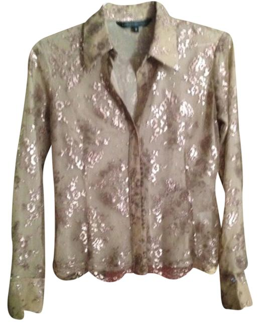 Item - Beige Gold (Lace) Shimmer Lace Button-down Top Size 0 (XS)