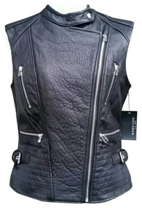 Dawn Levy Leather Silver Hardware Sleeveless Vest