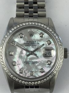 Rolex Rolex Datejust Stainless Steel White Mother of Pearl Diamond Watch