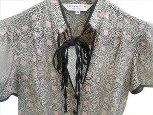 Trina Turk Top Black and White Print With Pink Flowers