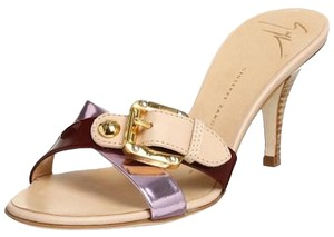 Giuseppe Zanotti Slide New Purple Tan Gold Lilac Sandals