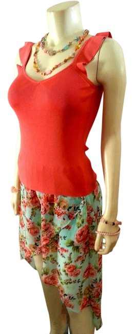 Brat Star P595 Size Small Low Maxi Skirt blue pink floral
