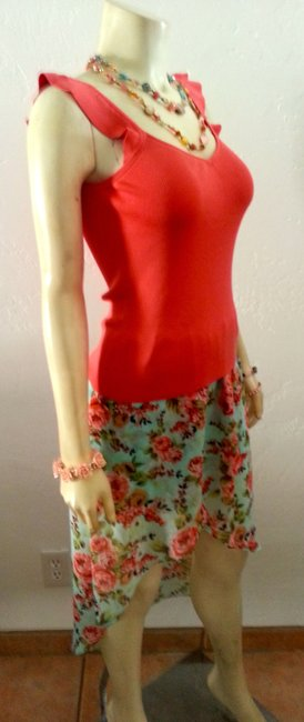 Brat Star P595 Size Small Hi Low Maxi Skirt blue pink floral