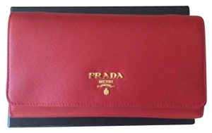 Prada Prada Red Saffiano Wallet with cross body straps