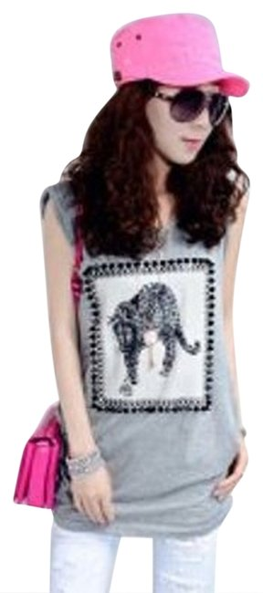 YiRenGe Animal Cotton Egyptian Cotton New Scoop Sleveless Black White Face Print Studs Tiger Leopard T Shirt Gray